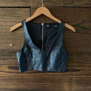 Zara leather look crop top